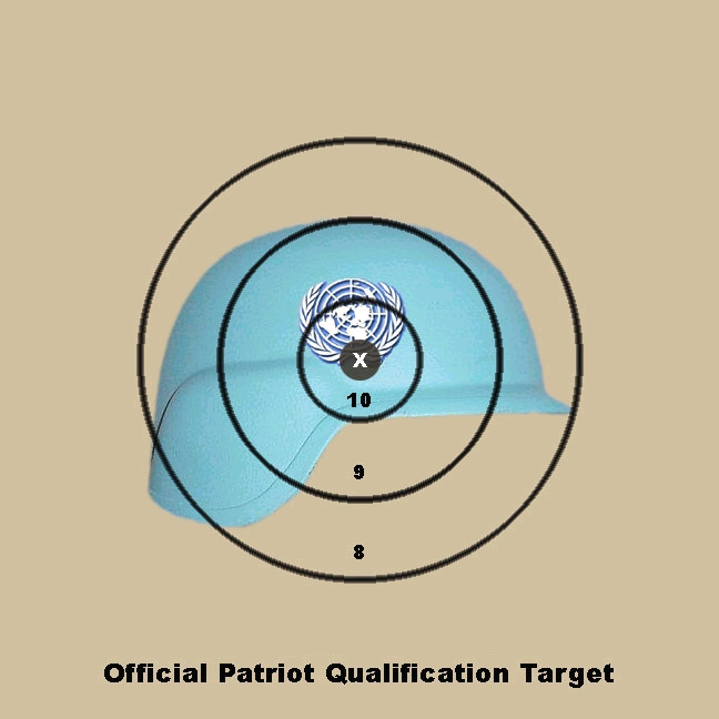 blue united nations helmet target